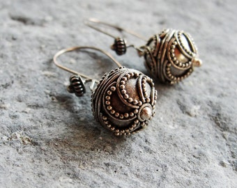 Bohemian Silver Earrings Sterling Silver Boho Earrings Ethnic Jewelry