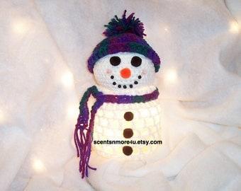 Crochet Snowman With Lights, Purple & Green Blend