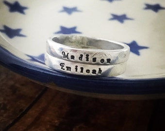 Custom hnd stamped sterling silver rings - two - stacking