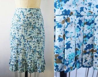 Anthropologie Floral Skirt Floral Pencil Skirt Knee Length Skirt Printed Pencil Skirt Pleated Skirt Cotton Preppy Turquoise Blue Us Sz 4