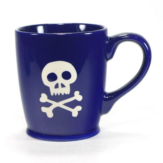 Skull Mug - Navy Blue - large skull and bones coffee cup