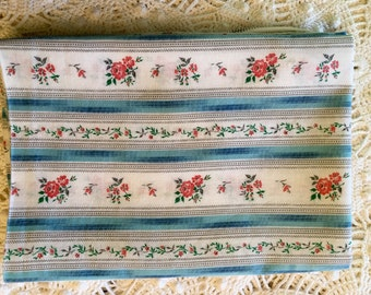 Tiny Roses Blue Stripe Vintage Pillow Tick - Pillow Cover - Pinks & Green on White Flowers - Zipper Pillow Case - Farmhouse Linens