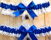 LABOR DAY SALE Handmade Lace Wedding Garter Set Los Angeles Dodgers La keepsake and toss Rrwg