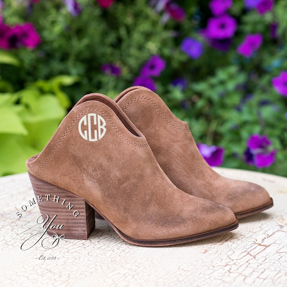 caramel suede monogrammed ankle boots personalized womens