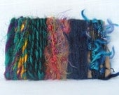 Yarn Scraps Recycled Silk Sari Green Blue Fiber Supplies 1262