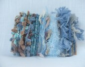 Blue Beige Art Yarn Bundle Scrap Yarn 1295