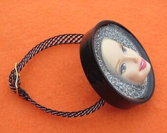 Beautiful Barbie - upcycled bottle cap bracelet