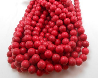 40 Red Howlite Beads 10MM round bead (H7064)