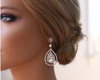 Bridal Teardrop Earrings, Wedding Jewelry, Swarovski Crystal Earrings, Art Deco Earrings, Vintage Inspired, Bridal Earrings,