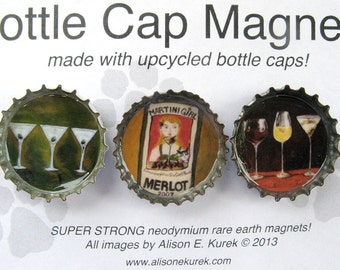 Martini Magnets  - Wine Magnets - Bottle Cap Magnets - Packaged Gift Set of 3 - Gift for Wine Lover - Wine Gift