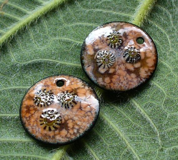 Handmade Copper Basket : Enameled copper earring pair organic murrini tan