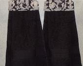 SET of 2 - Hanging Cloth Top Kitchen Hand Towels - Black and White Damask Print, Larger Black Towels