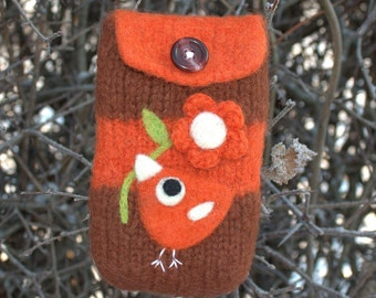 Brown orange wool pouch bag purse cellphone cozy needle felted orange birdie bird and flower