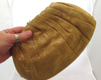 Vintage Gold Lame fabric Clutch Purse by HL Harry Levine, 60s, USA, accessory, fashion, evening bag