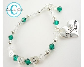 Birthstone Big Sister charm bracelet - personalized- all colors and sizes