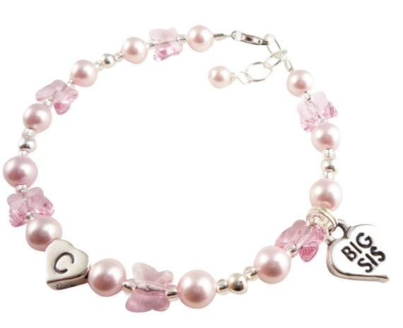 Big Sister bracelet with custom personalized initial & swarovski colors