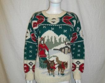 Vintage sweater, winter sweater, wool sweater, Eddie Bauer sweater, Snow dog sweater, wool size Medium