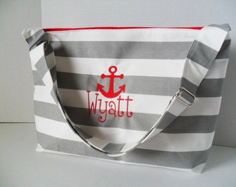 Stripe Diaper Bag - Diaper Bag - Hobo - Messenger Bag - Cross Body -  Diaper Bag - Beach Bag - Gray Stripe - Monogrammed - Nautical