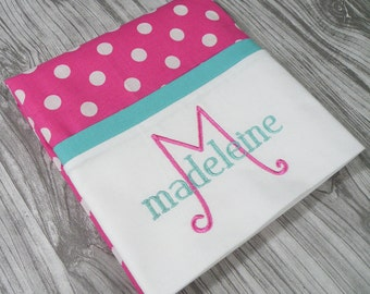 Magenta and Light Turquoise Pillowcase, Personalized Pillowcase, Monogrammed Pillowcase, Hot Pink Bedding, Pink Pillowcase