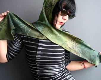 End of Amnesia - iheartfink Handmade Hand Printed Womens Green Botanical Print Hood Scarf Wrap Hat