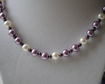Purple Glass Pearl Beaded Necklace and Earring Set