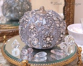 Rhinestone Encrusted Pumpkin Silver Shabby Fall Decoration Mixed Media Sculpture Lorelie Kay Original