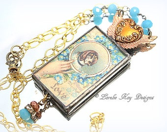 Dog Love Necklace Shabby Antique Look Victorian Inspired Soldered Forget Me Not Angel Wing Pendant
