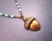 Acorn Necklace, Brass Pendant Necklace, Blue Glass Beaded Chain Necklace, FREE Shipping U.S.