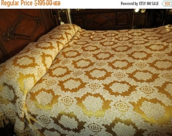 SALE Vintage 1960's Mid Century Sears Gold Damask Hollywood Regency Italian Bedspread