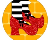 Luggage Tag - Ruby Slippers - 2.5 inch or 4 Inch Round Plastic Bag Tag