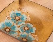 Valet Tray - Catch-All - Leather Tray - Ring Tray - Jewelry Tray - Flowers and vines in the Belle pattern with wild roses - turquoise brown