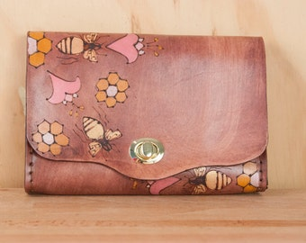 Leather Waist Purse - Small Leather Box Clutch in the Meadow pattern with bees - Use as Bum Bag - Clutch - Shoulder Bag or Crossbody Bag