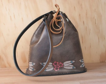 Leather Drawstring Tote Bag - Handmade Bucket Bag in the Dakota Pattern with Flowers and Feathers - Pink, White, and antique black