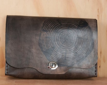 Large Leather Clutch - Handmade in the Big Woody Pattern with Wood Round - Works as Wristlet, Crossbody Purse or Waist Bag - Antique Black