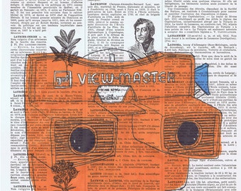 Viewmaster.Gift.Retro.Orangey Red,Repurposed,Book Page Print.Home Deco,Old School,Toy.View Master.vintage.hipster.bold.nursery.den.mom.dad