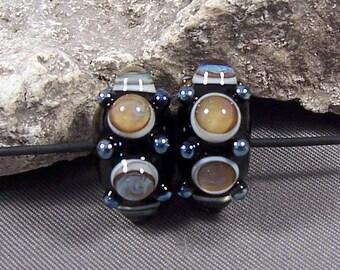 Handmade Lampwork Beads by Mona Sullivan - Royal Earring Pair -Monaslampwork Glass Beads Stormed Bubbles and Fine Metallic Dots Organic Boho