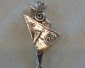 Sterling Silver Angular Charm Pendant Necklace