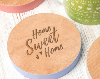 Home Sweet Home Coloured Edge Wooden Coaster