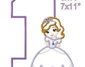 "Little Princess S0PHlA 1st Birthday Machine Embroidery Applique Pattern Design 5x7"" 6x10 7x11 INSTANT DOWNLOAD"