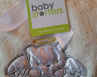 Personalized Baby Starters White/Creme Baby Blanket with Angel Bear that has a Yellow Halo & Bless This Baby in Silver Embroidery Thread