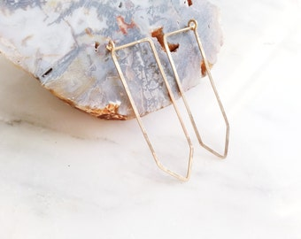 no. 430 - hammered 14kt gold filled quartz hoop earrings