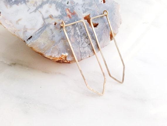no. 430 - hammered 14kt gold filled quartz hoop earrings