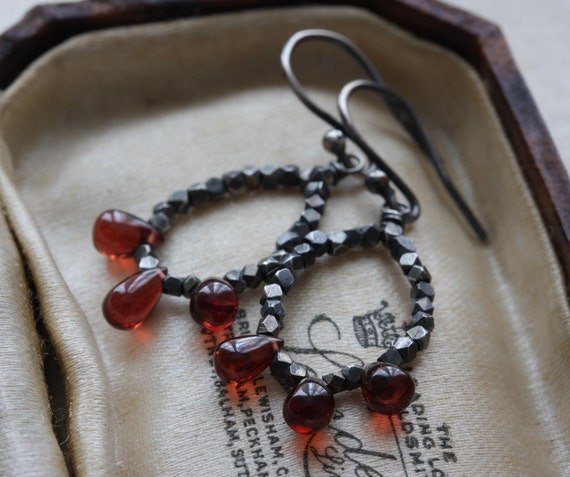 Garnet chandelier earrings in oxidized sterling silver - cherry red garnet briolettes & tiny faceted silver beads