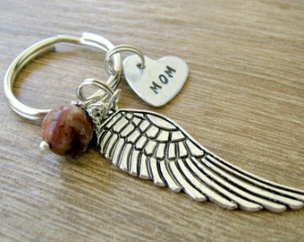 Personalized Angel Wing Keychain, choose tiny heart, choose bead color, mom memorial keychain, remembrance keychain, sympathy gift, RTS