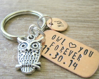 Personalized Owl Keychain, Owl Love You Forever with anniversary date, boyfriend gift, girlfriend gift, anniversary owl, couples keychain