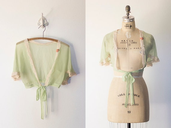 A 1930s Art Deco Flapper Silk Chiffon/French Lace Lingerie Trim With Silk Ribbon Flower Bedjacket,Bolero, Shrug