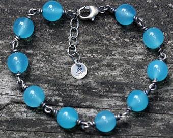 Blue Peruvian opal sterling silver beaded bracelet