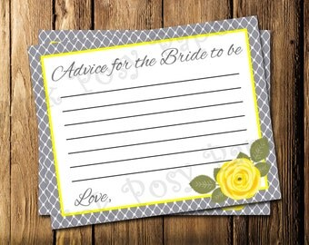 Printable Yellow and Gray Bridal Shower Advice Cards - Instant Download