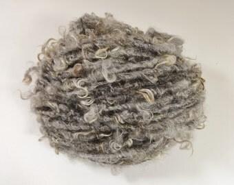 Natural Gray Handspun Yarn Teeswater Wool Locks 48 yards Fleece Spun light gray