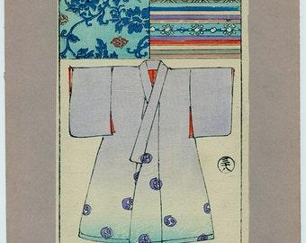 Vintage Japanese Woodcut Print of a Kimono with Textile Design